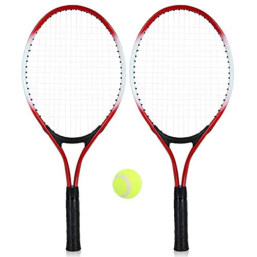 ZXCV Tenis de mesa al aire libre, pala de tenis para niños, 2 unidades, pala de entrenamiento para pelotas de tenis con 1 pelota de tenis y bolsa para la cubierta, rojo