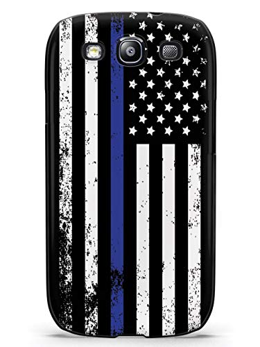 Inspired Cases - 3D Textured Galaxy S3 Case - Rubber Bumper Cover - Protective Phone Case for Samsung Galaxy S3 - Downward American Flag - Thin Blue Line