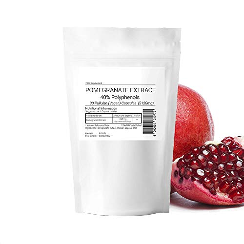 Pomegranate Seed Extract 5120mg 40% Polyphenols 90 Vegan Capsules (3 Month Supply) Suitable for Vegan Vegetarian Halal Kosher 100% Pure