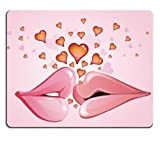 First Kiss Lips Full of Hearts Mouse Pads Customized Made to Order Support Ready 9 7/8 Inch (250mm) X 7 7/8 Inch (200mm) X 1/16 Inch (2mm) Eco Friendly Cloth with Neoprene Rubber Liil Mouse Pad Desktop Mousepad Laptop Mousepads Comfortable Computer Mouse Mat Cute Gaming Mouse_pad