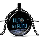 Pluto Star Ball Glass Pendant Galaxy Necklace Space Necklace Pluton Is A Planetary Cosmic Astronomy Geek Astronome.