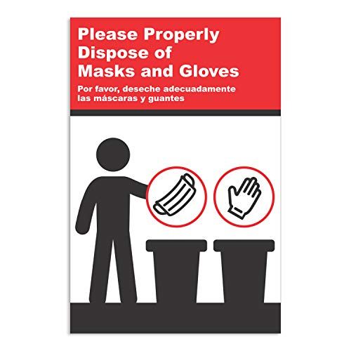 PPE Safety & Hygiene Sign - English/Spanish Notice with Proper Mask & Glove Disposal Methods, Install Ready (12'W x 18'H) - by GDS
