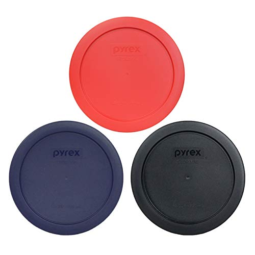 Pyrex 7201-PC 4 Cup Round Plastic Lids (1) Black, (1) Blue, and (1) Red - 3 Pack