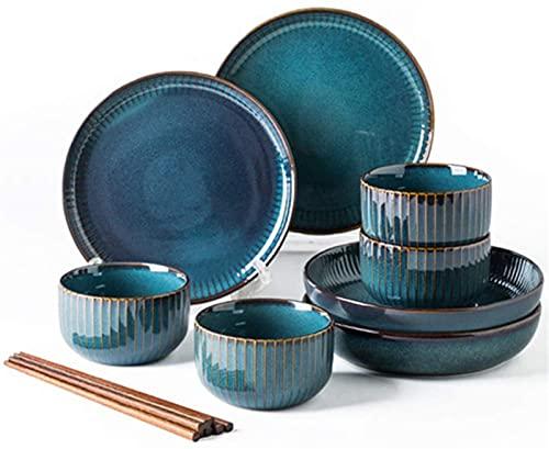 Mini Conjunto de vajillas finas, juego de vajillas porcelana, placas de cerámica y conjuntos de tazones, creatividad moderna Vintage Lounge Redondo Reactivo Reactivo Glaseado Platos de gres de gres pa
