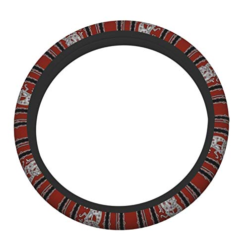 Yuisdwz Celtic Greyhound Dogs, Burgundy and Grey Steering Wheel Cover Asorbent Durable Use Car Wheel Protector(15 inch)