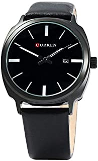 CURREN Watch Black Leather and Black frame Model M8212
