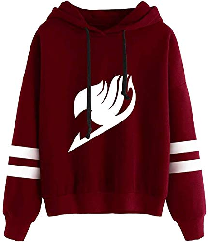 FLYCHEN Femme Sweats à Capuche Fairy Tail Adulte Cosplay Manches Longues(Rouge-DLogo, S)