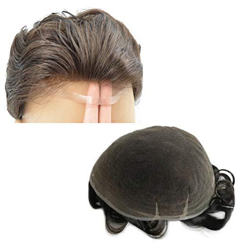 Hairnotion Perücken Echthaar Männer Dunkelbraun 2# 100% Inder Menschenhaar Französisch Spitze Toupet 8x10Zoll Dickes Haar Toupet für Männer Perücke
