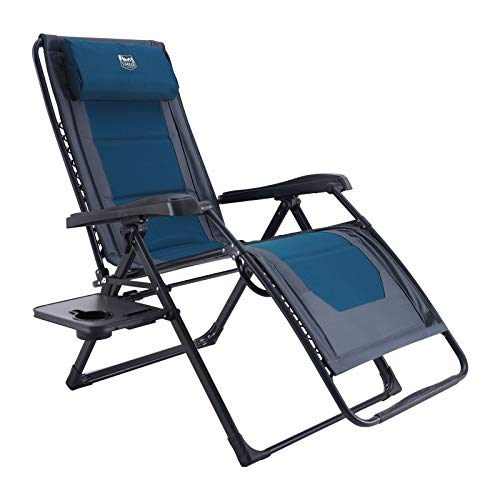 TIMBER RIDGE Oversized Zero Gravity Chair Padded Patio Lounger with Cup Holder Support 350lbs(Blue)