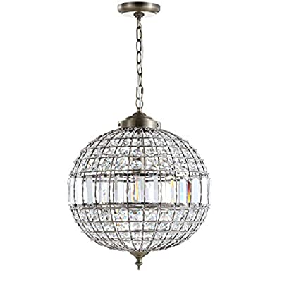 """JONATHAN Y JYL6110B Georgina 16"""" Crystal/Metal LED Chandelier Pendant, Glam, Contemporary, Transitional for Kitchen, Living Room, Antique Brass/Clear"""