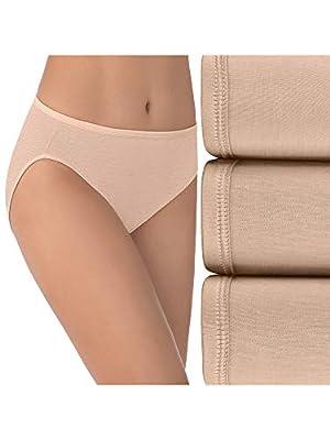 Vanity Fair Women's Illumination Hi Cut Panties (Regular & Plus Size), 3 Pack-Rose Beige, 8