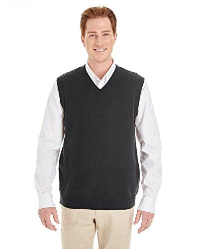Harriton Mens Pilbloc V-Neck Sweater Vest (M415) -BLACK -6XL
