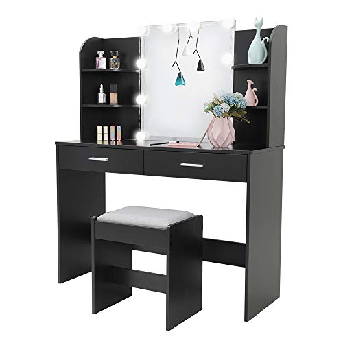 USIKEY Large Vanity Set with 10 Light Bulbs, Makeup Table with Cushioned Stool, 6 Storage Shelves 2 Drawers, Dressing Table Dresser Desk for Women, Girls, Bedroom, Black