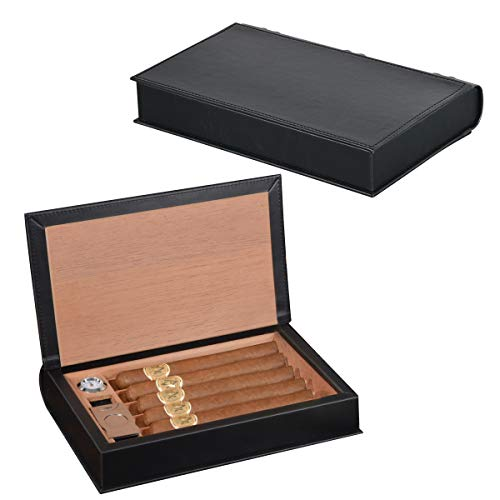 Volenx Cigar Humidor, Black Leather Travel Humidor Cedar Wood Box with Hygrometer & Humidifier Holds 5-10 Cigars
