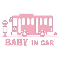imoninn BABY in car ステッカー 【シンプル版】 No.61 バス (ピンク色)