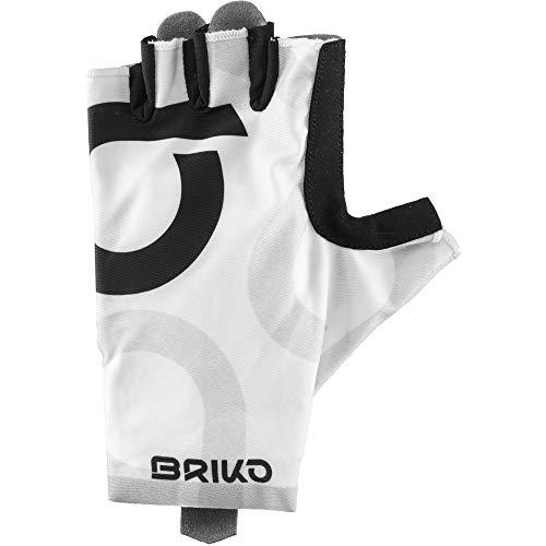 Briko Ultralight Glove Guantes Ciclismo, Hombre, White Black