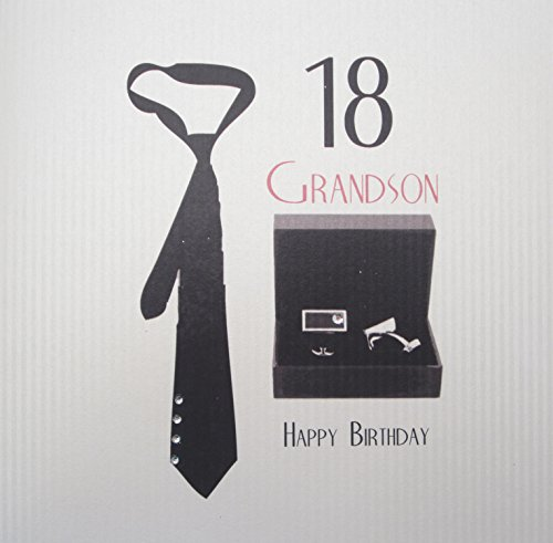 White Cotton Cards stropdas en manchetknopen 18 Happy Birthday Grandson
