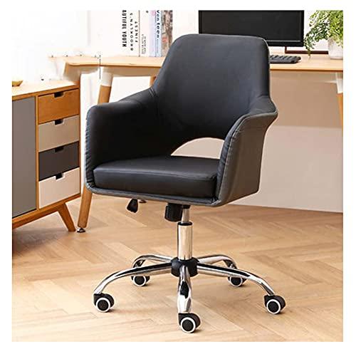 VIVIANSHOP Silla ergonómica de lujo ligera para ordenador, silla de oficina, asiento trasero cómodo para el hogar, silla de trabajo, taburete de escritorio, silla giratoria, muy cómoda, color negro