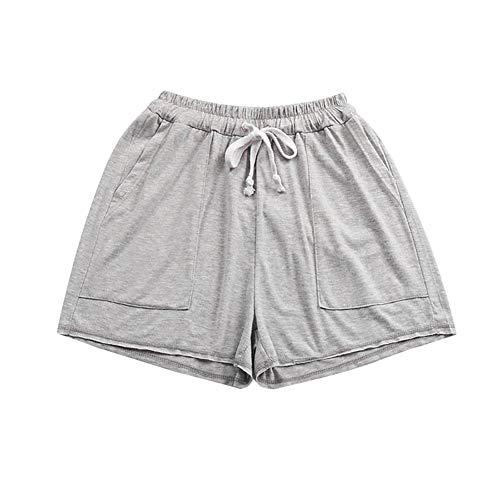 YHSGD Pantalones Cortos para Mujer, Pantalones Cortos para niñas, Summer Cotton Gym Casual Plus Size Sports Loose Pyjamas Home Yoga Running Pants