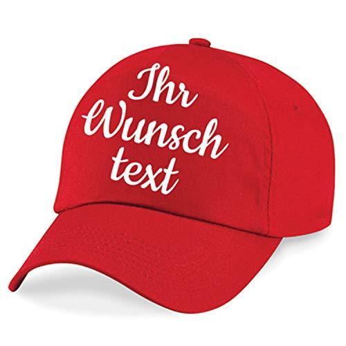 Deitert Kappe, Basecap individuell bestickbar mit Namen oder Wunschtext | 26 Farben zur Auswahl Rot