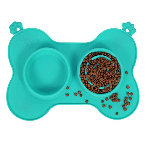 Double Slow Eating Dog Bowl, 3 in 1 Silicone Pet Slow Feeder with Stainless Steel Bowl and Non Spill Mat, Collapsible Food Water Bowl for Dog Cat(Green)