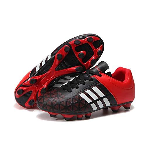 KKLT Calzado De Fútbol para Niños Y Niñas con Tacos FG/TF, Entrenamiento De Competición, Calzado para Correr En Pista Y Campo, Botas Deportivas Profesionales Al Aire Libre(43, Red-FG)