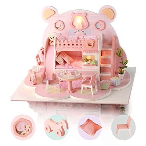 GuDoQi DIY Dollhouse Kit, 3D Wooden Miniature Dollhouse with Furnitures and Music, LED Light, Handmade Mini Apartment Model Kit for Adults to Build, Pink Bear House