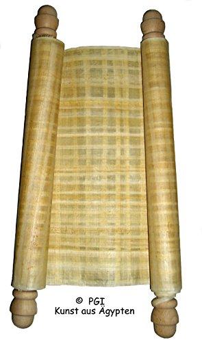 ägyptische Papyrusrolle mit 2 gedrechselten Endstücken 20 cm x 72 cm