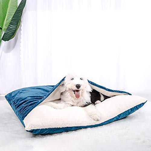 Price comparison product image Susupet Pet Dog Bed / Orthopedic Round Cuddle Nest Snuggery Burrow Blanket Pet Bed w / Removable Cover for Dogs & Cats - Available in Multiple Colors & Styles (Large,  Blue)
