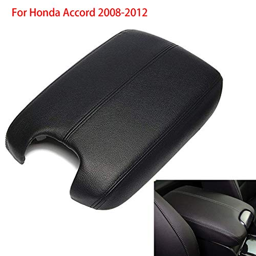 Travay Center Console Lid Armrest Cover Compatible with 2008-2012 Honda Accord Leather Protector Plastic Black