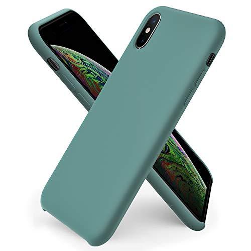 ORNARTO Custodia in Silicone Liquido per iPhone XS, iPhone X Cover Sottile in Silicone Liquido in Gomma Gel Morbida per iPhone XS/X (2018) 5,8 Pollici-Verde Pineta