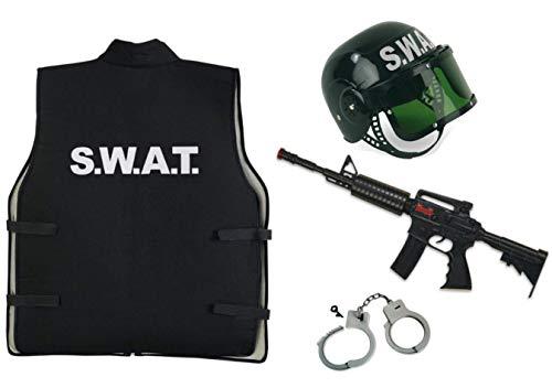 KarnevalsTeufel Costume de carnaval Set SWAT pour enfant - 4 pièces Gilet SWAT, casque SWAT, jouet mitraillette et menottes - Style agent, police, FBI, pour enquête et sécurité