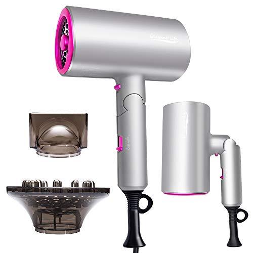 Haartrockner Ionen, 1800W Schnelltrocknen faltbarer Salon-Fön mit ionischer Technologie, 3 Geschwindigkeiten, 2 Düsen und 1 Diffusor, Verwendung für zu Hause, Friseursalon, Reisen