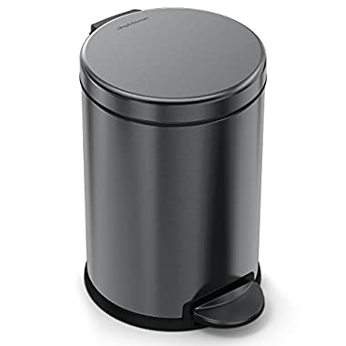 simplehuman 4.5 Liter/1.2 Gallon Compact Stainless Steel Round Bathroom Trash Can, Black Stainless Steel