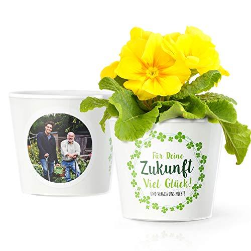 Abschiedsgeschenk Blumentopf (ø16cm) | Geschenke für Kollegen zum Jobwechsel oder Verabschiedung mit Bilderrahmen für 2 Fotos (10x15cm) | Für Deine Zukunft Viel Glück - und vergiss Uns Nicht