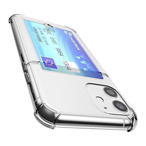 ANHONG iPhone 11 Clear Case with Card Holder, [Slim Fit][Wireless Charger Compatible] Protective Soft TPU Shock-Absorbing Bumper Wallet Case