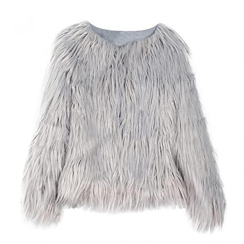 APOKIOG Abrigo largo de invierno para mujer, elegante, parka negra de piel sintética, trench con bolsillos, cárdigan de felpa, gris, L