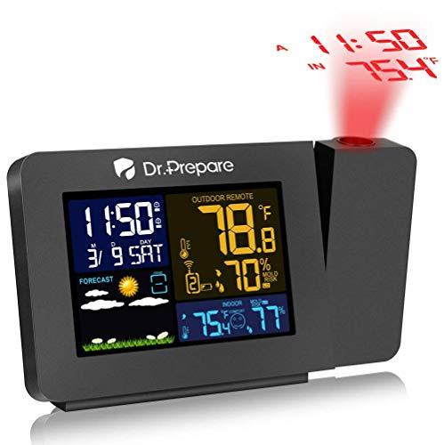 Dr. Prepare Projektionswecker für Schlafzimmer zeigt Innen- und Außentemperatur. Es gibt doppelte Wecker. Mehrfarbige Projektionsuhr mit Hintergrundbeleuchtung und Wettervorhersage