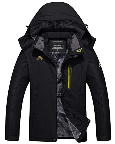 TACVASEN Men's Softshell Jacket Waterproof Windproof Fleece Lined Snow Ski Jacket, Black, L