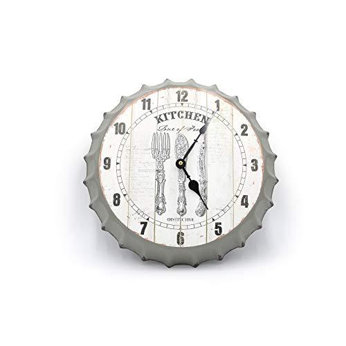 Orologio da Parete, Orologio da Muro Moderno e di Design, Ideale per Cucina, Colore Bianco e Grigio