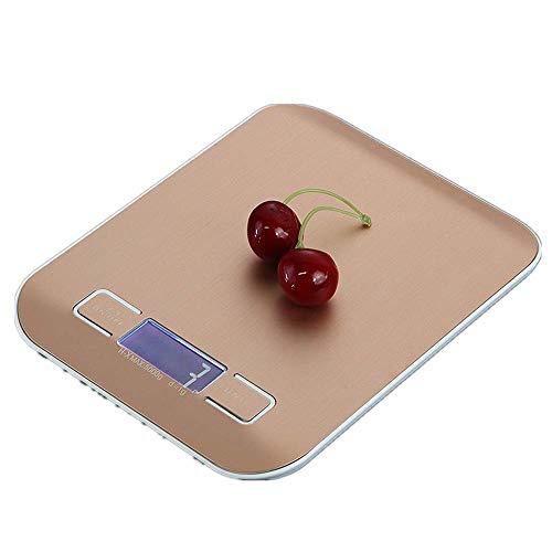 DDELLK 10KG/1G keukenweegschaal, digitale weegschaal, elektronische weegschaal, roestvrij stalen keukenweegschaal voor keuken, reizen, sieraden 5KG/1G roze/goud 5