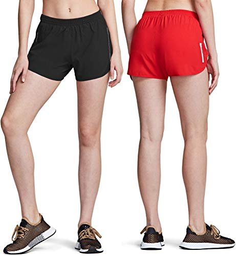 ATHLIO Women's Running Shorts with Pockets, Dry Fit Exercise Workout Shorts, Jogging Sports Athletic Shorts Mesh Liner, 2pack(cfs20) - Black/Red, X-Small