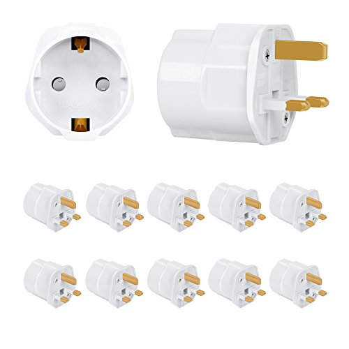 Incutex 10x Reisestecker UK GB England Travel Adapter EU Schuko 2-Pin auf UK 3-Pin Reise Steckdosenadapter Typ G, weiß