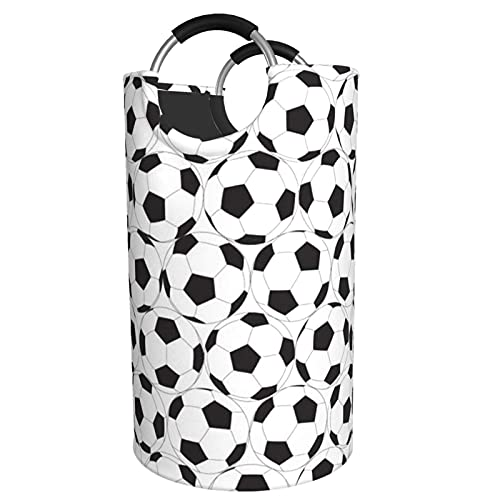 VLKFK Cesta de lavandería Patrón de balón de fútbol Blanco y Negro Cesta de lavandería Grande Cesta de Ropa Plegable Cesta de Lavado de Tela Oxford 82L
