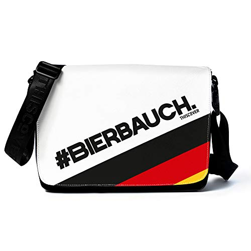 THISCOVER Umhängetasche - Laptoptasche - Flagge Bierbauch - Tasche mit austauschbarem Cover - Deckel - Messenger Bag Wickeltasche, Korpusfarbe:schwarz, Gurtfarbe:schwarz