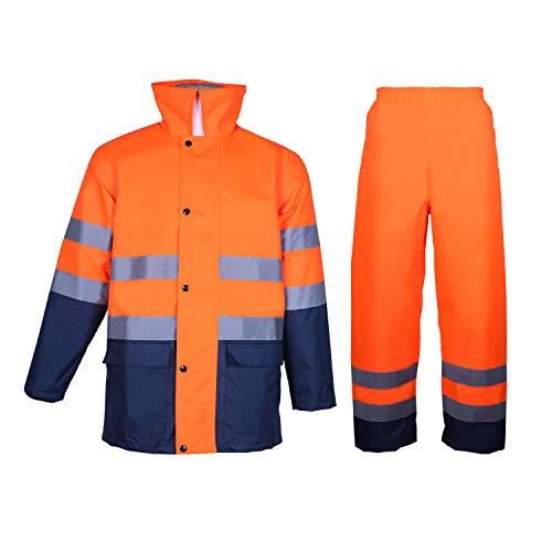 Tuta da pioggia da uomo ad alta visibilità di classe 3 con cappuccio pieghevole, giacca e pantaloni da lavoro impermeabili di sicurezza riflettenti blu navy (3XL)