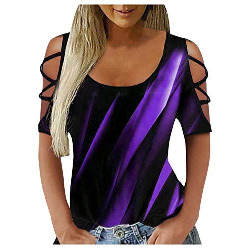 Julhold Blusa para mujer Casual haz proyección contraste impresión V-cuello manga larga camisetas mujeres