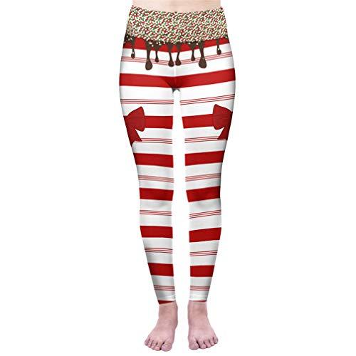 Moda Mujer Cintura Alta Dulce bastón de Caramelo Punk Elasticidad Leggings Workou Slim Fitness Pantalones One Size