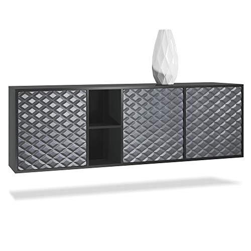 Vladon Sideboard Kommode Cuba, Korpus in Schwarz matt/Fronten in 3D Stahlgrau
