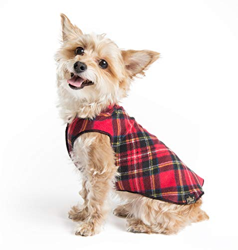 Gold Paw Stretch Fleece Dog Coat – Soft, Warm Dog Clothes, Stretchy Pet Sweater – Machine Washable, Eco Friendly – All Season, Red Classic Plaid, Size 22